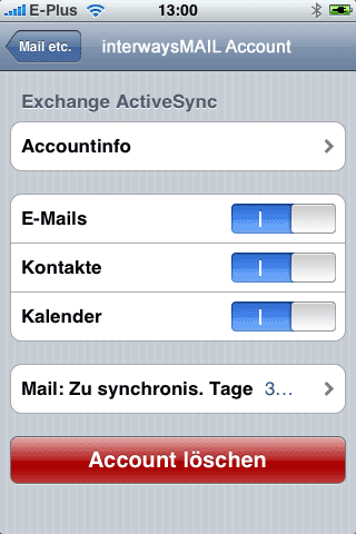 iPhone Einstellung Screenshot 2