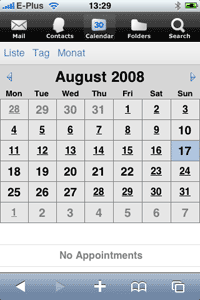 iPhone Kalender Webclient Screenshot